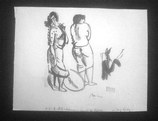 Jules PASCIN - Dibujo Acuarela - Deux femmes