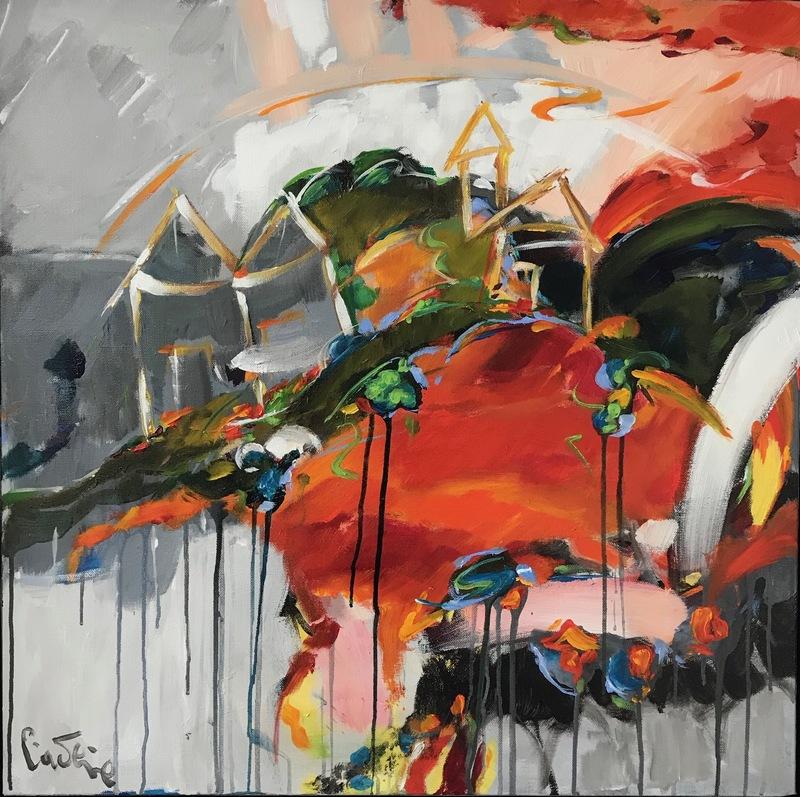 Bernard CADENE - Peinture - Christina et le village perché