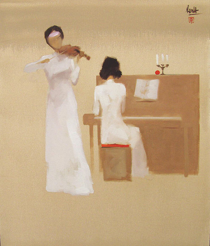 Thanh Binh NGUYEN - Painting - Two Musicians