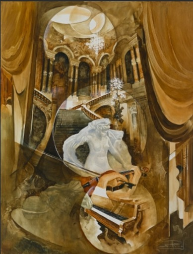 Roger SURAUD - Painting - Le grand escalier