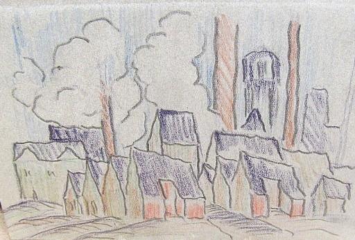 Friedrich EINHOFF - Drawing-Watercolor - #20019: Häuser vor Industrieanlagen.