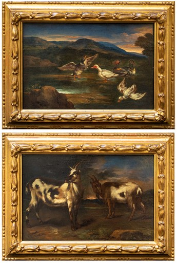 Pieter II MULIER - Gemälde - Landscapes with ducks and goats