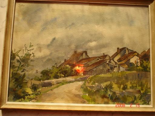 Fritz Edouard HUGUENIN-LASSAUGUETTE - Dibujo Acuarela - le hameau
