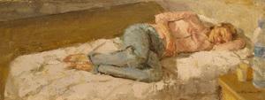 Angel BADIA CAMPS - Pintura - Estirada sobre el llit