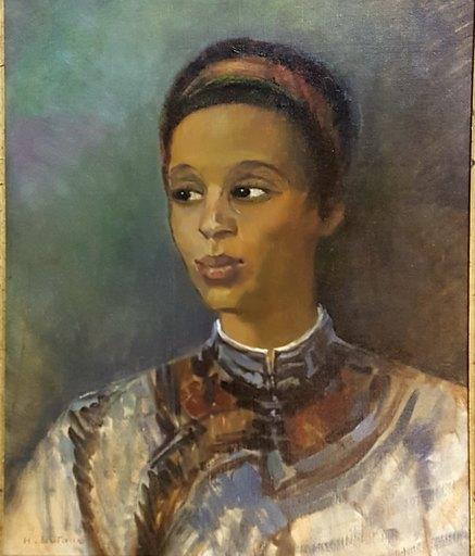 Henri DUFAUX - Peinture - portrait de jeune femme orientale
