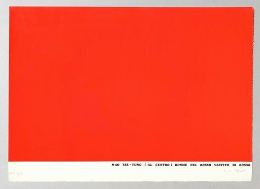 Emilio ISGRO - Stampa-Multiplo - Mao Tse-Tung (al centro) dorme nel rosso vestito di rosso