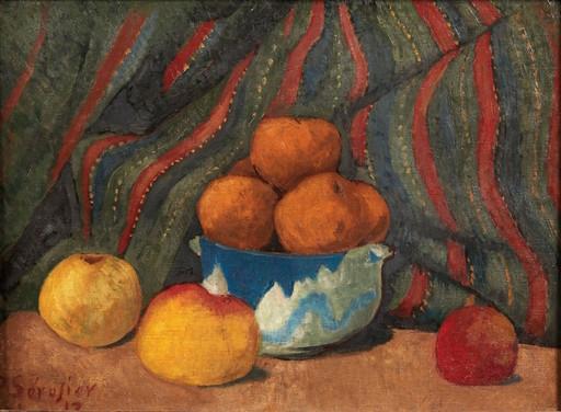 Paul SÉRUSIER - Pintura - Nature morte aux pommes sur fond de tenture rayée