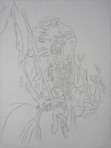 Andy WARHOL - Drawing-Watercolor - War Bonnet Indian