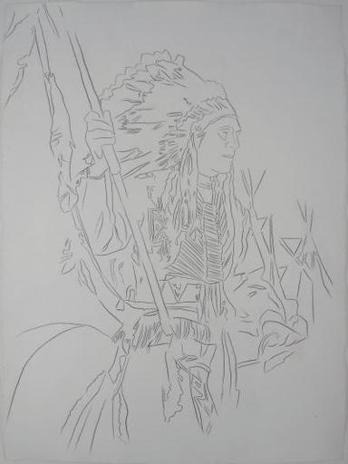 Andy WARHOL - Dibujo Acuarela - War Bonnet Indian