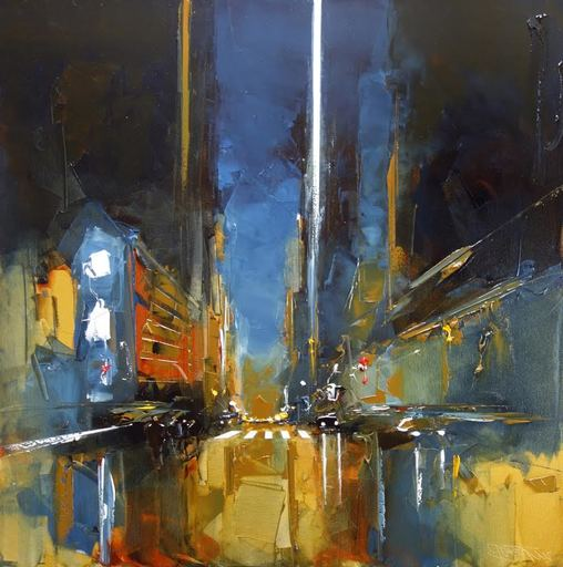 Daniel CASTAN - Painting - Manhattan - Abstraction nocturne