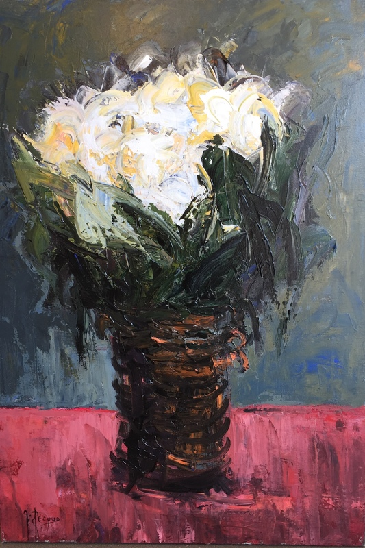 Gilbert PECOUD - Painting - Grand bouquet de fleurs blanches