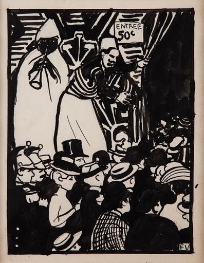 Félix VALLOTTON - Drawing-Watercolor - La Rue du Caire, Exposition Universelle V