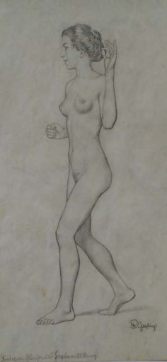 "Remigius GEYLING - Drawing-Watercolor - ""Female Nude"" by Remigius Geyling , ca 1910"