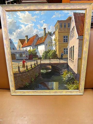 Valdemar THOMSEN - 绘画 - Kanal mit Brücke in der Altstadt ( Apenrade )