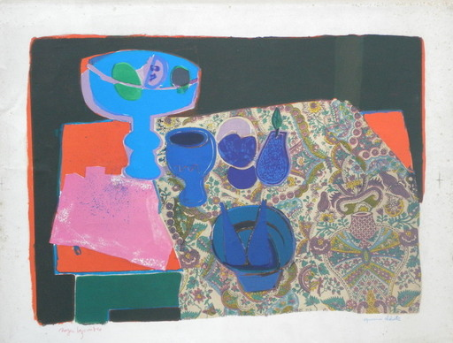 Roger BEZOMBES - Print-Multiple - nature morte en bleu