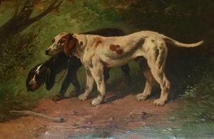 Paul SCHOUTEN - Pintura - Honden tijdens de jacht