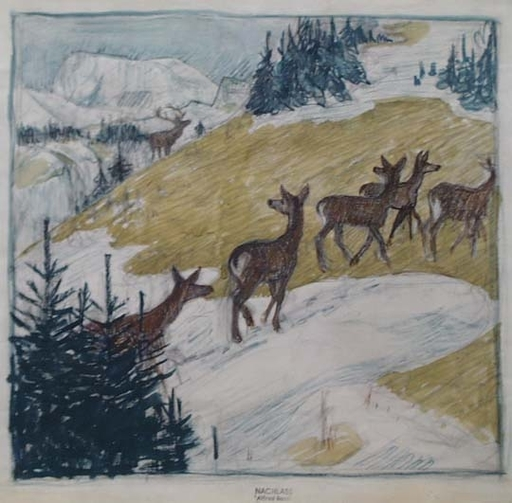 "Alfred BASEL - Pittura - ""Alpine Landscape with Roe Deers"", early 20th Century"