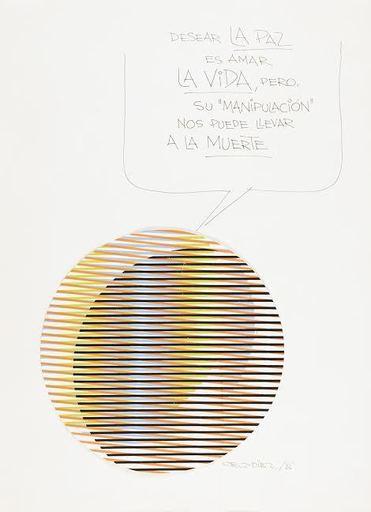 Carlos CRUZ-DIEZ - Dibujo Acuarela - Desear la paz es amar la vida pero su manipulación nos puede