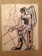 Gino SEVERINI - Drawing-Watercolor - Agricoltore al lavoro