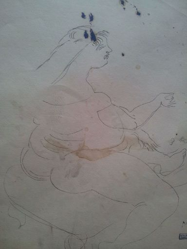 Jules PASCIN - Disegno Acquarello - Seated Woman
