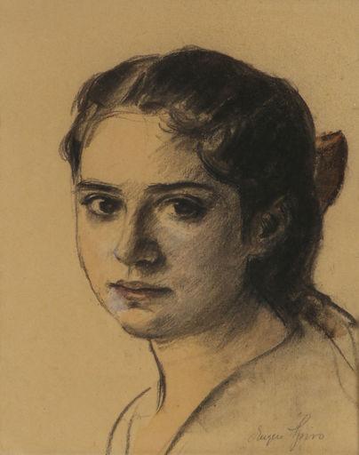 Eugen SPIRO - Disegno Acquarello - Portrait of a Girl