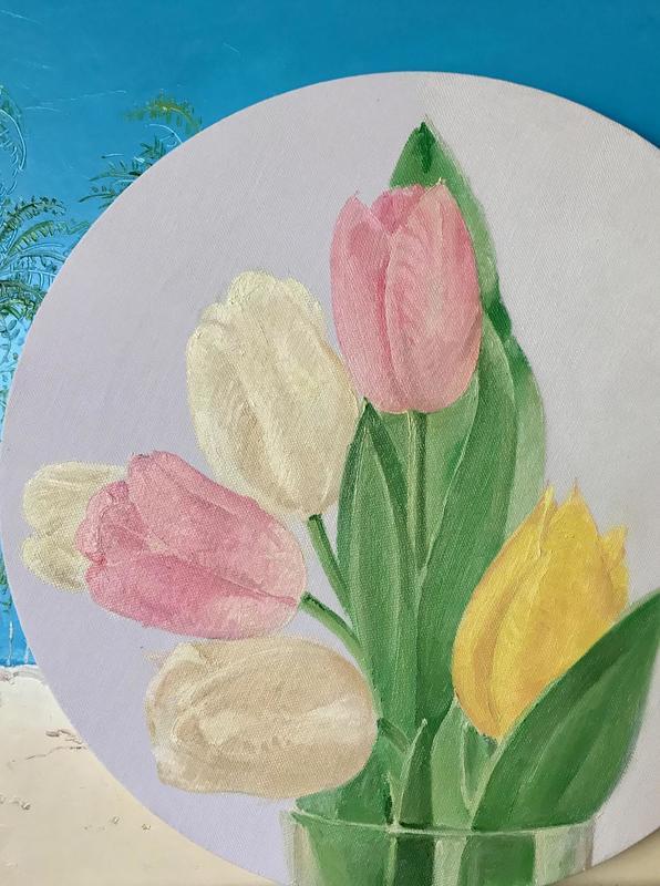 Rusiko CHIKVAIDZE - Painting - Tulips