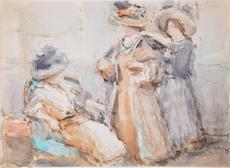 Isaac Lazarus ISRAELS - Drawing-Watercolor - Untitled (2 Women visit a Dressmaker)