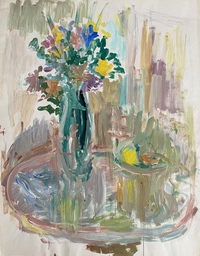 Raya SAFIR - 绘画 - Bouquet de fleurs et coupe de fruits