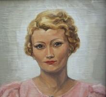 Pierre ABADIE-LANDEL - Pintura - Portrait de femme blonde en robe rose