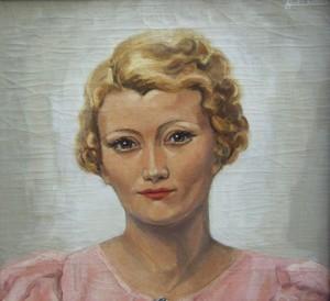 Pierre ABADIE-LANDEL - Peinture - Portrait de femme blonde en robe rose