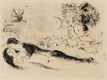 Marc CHAGALL - Estampe-Multiple - The lovers