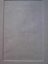 Joseph CSAKY - Dibujo Acuarela - JEUNE FILLE 1947