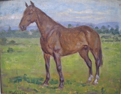 Lorand ZUBRICZKY - Painting - Cheval au pré. Campagne Genevoise. Suisse