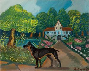 Antonio LIGABUE - Gemälde - Dobermann