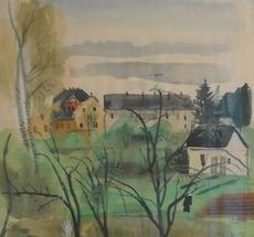 Ferdinand KITT - Drawing-Watercolor - Häuser und Bäume