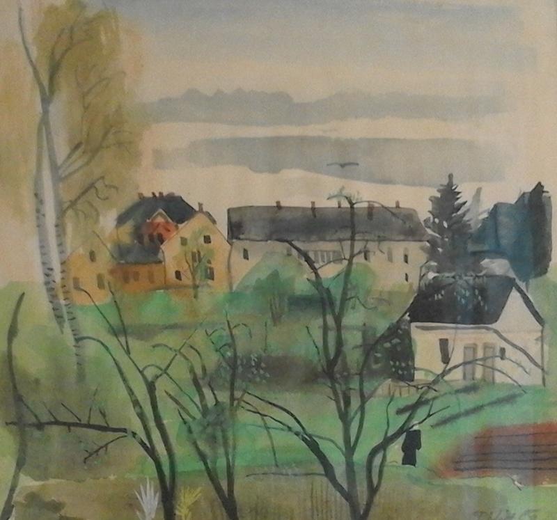 Ferdinand KITT - Dibujo Acuarela - Häuser und Bäume