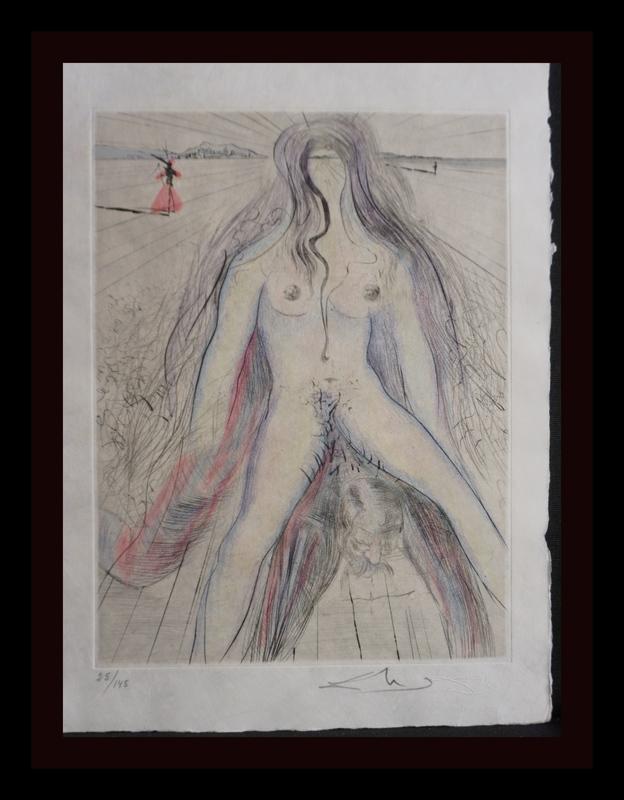 Salvador DALI - Grabado - La Venus aux Fourrures Woman on Horse