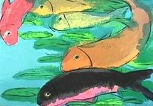 TING Walasse - Grabado - Fish