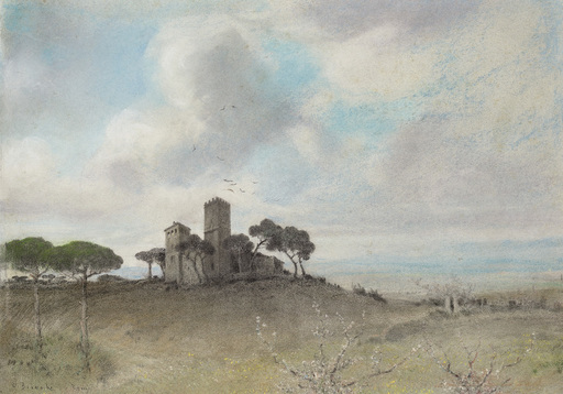 Othmar BRIOSCHI - Drawing-Watercolor - Spring in the Roman Campagna