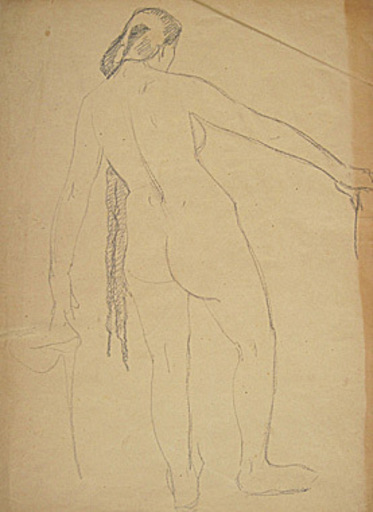 Broncia KOLLER-PINELL - Drawing-Watercolor - Stehender Rückenakt