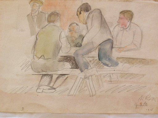 Alfred RETH - Drawing-Watercolor -  Granville - Men Sitting at a Table