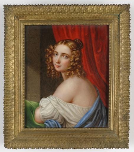 "Pierre BAGATTI-VALSECCHI - Gemälde - ""Portrait of a Lady before a red curtain"" on porcelain"