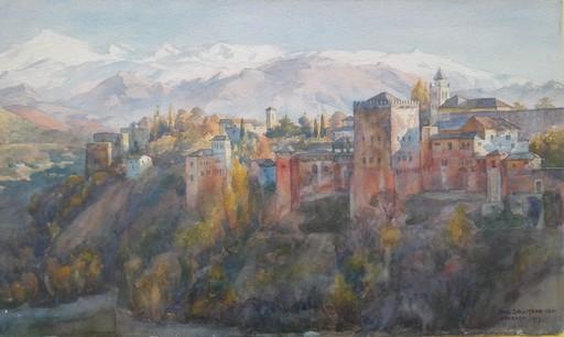 Paul SOLLMANN - Disegno Acquarello - VISTA DE LA ALHAMBRA