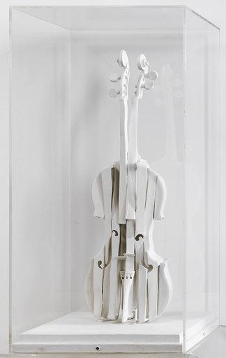 Fernandez ARMAN - Escultura - Violon Découpé Blanc