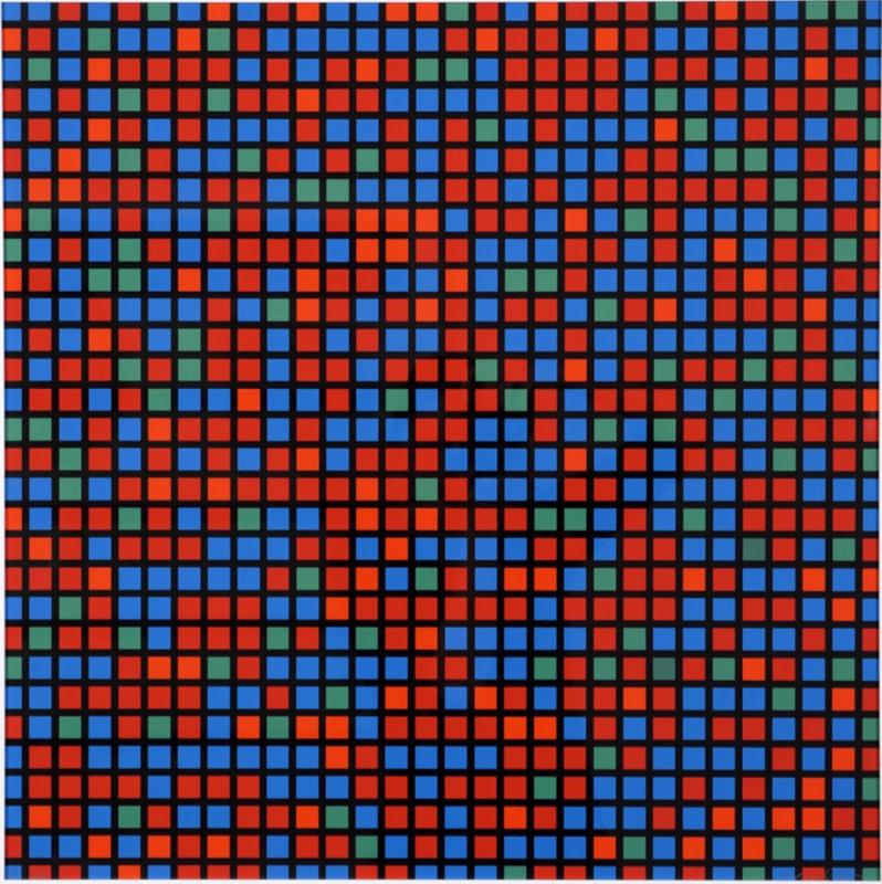 François MORELLET - Print-Multiple - Chartres bleu rouge