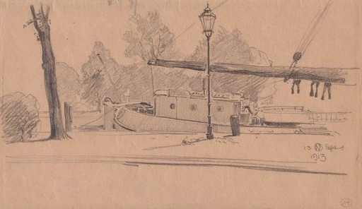 Otto NABER - Dibujo Acuarela - Hafenscene