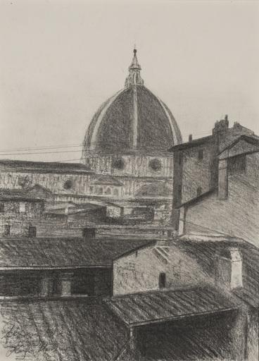 Richard MÜLLER - Dessin-Aquarelle - Die Domkuppel in Florenz