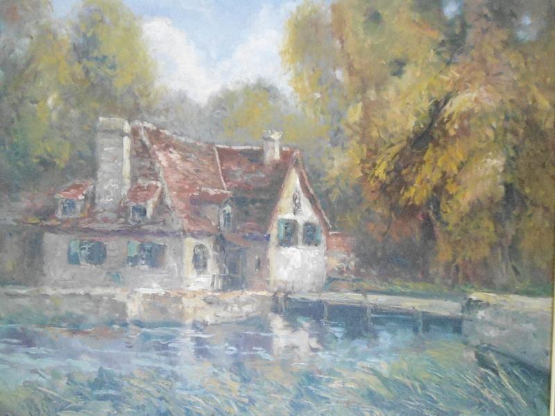 Charles BLONDIN - Peinture - La maison au bord de l'étang.