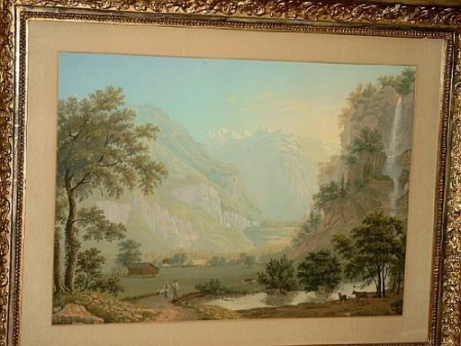 Johann Heinrich BLEULER - Disegno Acquarello - Der Wandelbach im Oberhaslital.