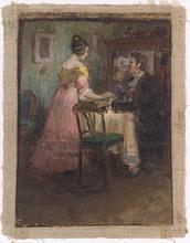 Robert SCHEFFER - Painting - Interior Scene, ca 1900